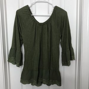 Sanctuary Green Lace Bell Sleeve Blouse / Shirt